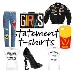A fashion look from March 2017 featuring white t shirt, crew-neck shirts and bomber jackets. Browse and shop related looks. Crew Neck Shirt, T Shirt, House Of Holland, Moschino, Yves Saint Laurent, Bomber Jacket, Fashion Looks, Lady, Polyvore