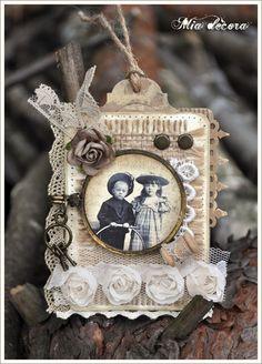Mia decora: ATC koronki. Wrapped lace rosettes - angels