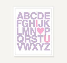 Custom I Love You Alphabet Poster - Childrens Typography Print Nursery Art - 11x14 Digital Print Poster via Etsy