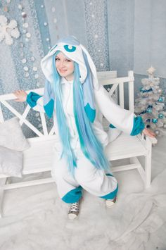 Glaceon kigurumi by yotsubanoclover on Etsy