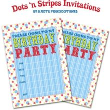Free Printable Dots 'n Stripes Birthday Party Invitations ishareprintables.com #freeprintables #birthdayprintables #ishareprintables