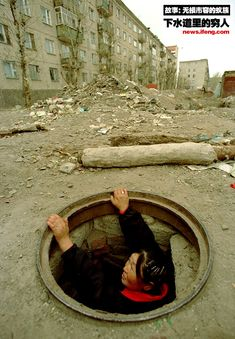 In Mongolia the homeless people have no home just like they don't in the United State but ours have fire to make themselves hot. These have to go underground that means it dangers and no different's.  http://www.chinasmack.com/2010/pictures/mongolian-homeless-living-underground-in-sewers.html#
