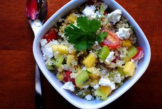 Kiwi Mango Quinoa Salad - quinoa is supposed to be a super high protein food that is a good alternative to meat. I must try this!
