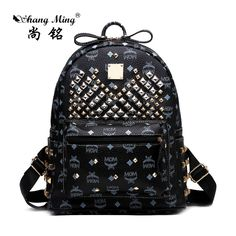 26.51$  Buy here - http://ali3l6.shopchina.info/1/go.php?t=32811124963 - 2017 ShangMing Korean Skull Rivet Fashion Women Backpacks PU Material Women's Backpack Black bags Punk style cool Girls Backpack  #SHOPPING