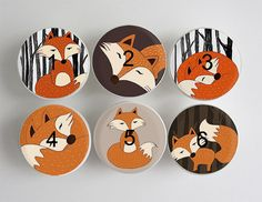 Fox Drawer Knobs Woodland Fox Knobs Wood Knobs 1 1/2 by LeilasLoft