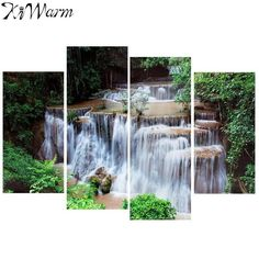 4Pcs/set Cascade Waterfall Woods Scene Landscape Canvas Painting Decor Art Picture Home Room Decoration Gift No Frame