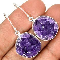 Amethyst Druzy 925 Sterling Silver Earrings Jewelry AMDE235
