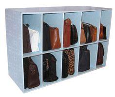Windsor Luxury Living Park-a-Purse Handbag Storage Shelf Organizer (Handbag Holder), Blue (Wood) Diy Purse Organizer, Handbag Storage, Cube Organizer, Handbag Organization, Closet Organization, Organization Ideas, Diy Purse Shelf, Purse Rack, Organizing Solutions