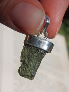 Green Goddess Genuine Moldavite Pendant in Sterling Silver (Includes Silver Chain)
