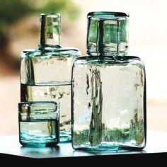 Handmade glass carafe.