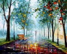 Paisaje  tarde de lluvia Lluvia moderno arte por AfremovArtStudio