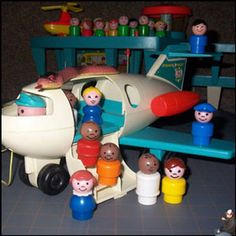 Fisher Price Little People Airplane.  I remember when my little brother was five he had his tonsils out.  My parents gave him this plane, a Nerf basketball set, and a GI Joe.