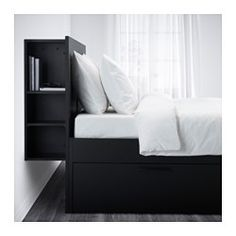"$379 BRIMNES Bed frame with storage & headboard, black, Luröy - Queen - Luröy - IKEA  Length: 95 1/4 "" (242 cm)  Width: 62 1/4 "" (158 cm)  Height: 43 3/4 "" (111 cm)  Mattress length: 79 1/2 "" (202 cm)  Mattress width: 59 7/8 "" (152 cm)"