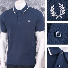 0da3544aa0f7 Fred Perry Mod 60 s Laurel Wreath Waffle Knit Tipped Polo Shirt Blue