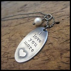I Love You More Rustic Sterling Oval Necklace