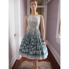 1950s Floral Full Skirt Summer Dress Soft Cotton by PaisleyBabylon, $60.00