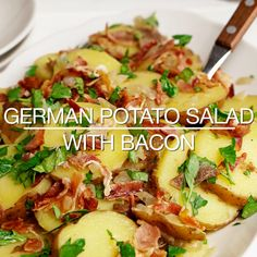 Video Recipe: German Potato Salad with Bacon Side Dish Recipe with onion, white vinegar, sugar, and Potato Salad Mustard, Potato Salad Dressing, The Menu, Bacon Dishes, Food Dishes, Tapenade, Edamame, Potato Salad Recipe Easy, German Potatoe Salad Recipe