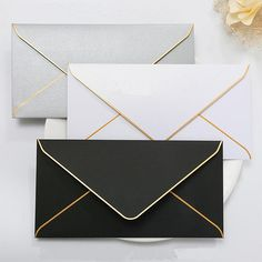 5 colors Gold Foil Bordered Envelope /colorful invitation envelope /Light green envelopes for wedding /colorful invitation envelopes How To Make An Envelope, Diy Envelope, Envelope Design, Invitation Envelopes, Invitation Cards, Wedding Invitations, Gold Envelopes, Colored Envelopes, Envelope Template Printable