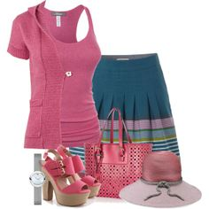 """""""pink tank and cardigan"""" by cavell on Polyvore"""