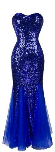 Angel-fashions Femme Rembourrage manches Bleu Paillettes Robe de Soiree Tulle Small Bleu Angel-fashions http://ebay.to/1GILXHh
