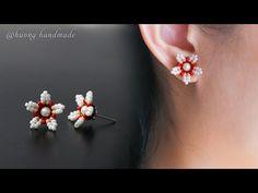 DIY summer stud earrings. How to make beaded jewelry - YouTube Diy Earrings Studs, Seed Bead Earrings, Beaded Earrings, Diamond Earrings, Beaded Jewelry Patterns, Beading Patterns, Beadwork Designs, Earring Tutorial, Handmade Beads