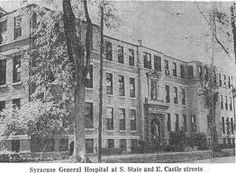 Syracuse General Hospital, site of James Hunter's house Diane and Jim Cllift Jrborn here