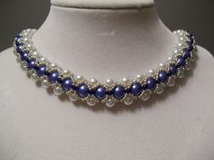 Vintage Periwinkle and White Pearl Beadwork Necklace Choker Bib Collar with Silver Bead Accents