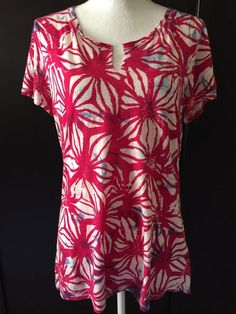 Lucky Brand Large Cotton Knit Top Short Sleeve Hot Pink Blue Floral  Size Large #LuckyBrand #KnitTop #Casual