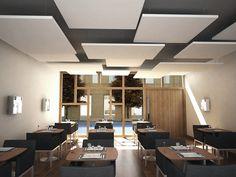 Faux-plafond acoustique / en îlot - Rockfon Eclipse™ - ROCKFON Acoustic Baffles, Ceiling Plan, Ceiling Beams, Baffle Ceiling, Drywall Ceiling, Ceiling Lights, Ceilings, False Ceiling Living Room, Bedroom Ceiling