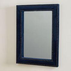 Upholstered Wall Mirror - Ink Blue Velvet #westelm