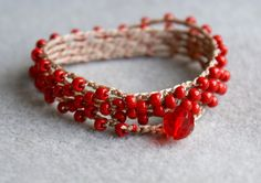 Red obsession boho beaded crochet wrap bracelet or necklace, red, ruby, boho chic, bohemian jewelry, via Etsy.