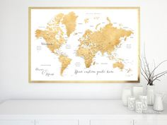 Custom quote world map print - faux gold foil effect world map with cities. Color combination: Rossie   Personalized world map poster, in this color combination, featuring your favorite quote. We can also add, in the left lower corner, a couple names, a baby name, family name + date...   Printed on Epson Enhanced Matte Paper, perfect for framing.