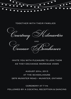 Evening Black & White Wedding invitation // Patio Lanterns // Bride Groom Graphic // Cocktail Reception on Etsy, $2.80