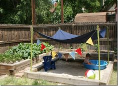 Backyard beach - steps to building a 7x7-foot sand box for the kids. #Sandbox #Kids