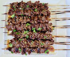 Teriyaki Skewers, Teriyaki Marinade, Beef Skewers, Teriyaki Beef, Steak Kabobs, Beef Kabob Recipes, Meat Recipes, Asian Recipes, Bbq Sticks