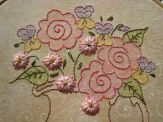 Breath of Spring. This was one of the most enjoyable embroidery projects I've done. Nice variety of techniques. Pattern by Crabapple Hill.