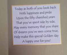 Golden wedding anniversary card sentiment - could be adapted for Diamond, Ruby or Silver anniversary