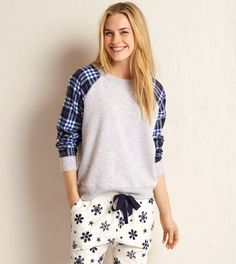 Medium Heather Grey Aerie Flannel Sweatshirt