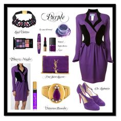 """Purple V (Fashion Fall/Winter 2016/17)"" by jonna-hansen ❤ liked on Polyvore featuring Thierry Mugler, Christian Louboutin, Yves Saint Laurent, Louis Vuitton, In Your Dreams, NYX, Bobbi Brown Cosmetics, NARS Cosmetics and Rimmel"