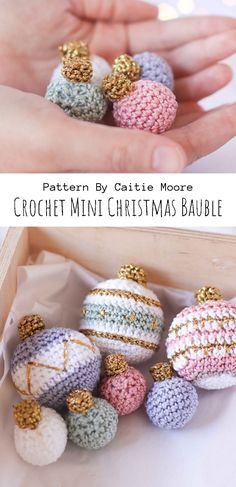 Crochet Mini Christmas Bauble - knitting is as easy as 3 knitting . Crochet Mini Christmas Bauble – knitting is as easy as 3 Knitting boils down to three essen Crochet Crafts, Yarn Crafts, Free Crochet, Crochet Projects, Sewing Crafts, Knit Crochet, Diy Crafts, Crochet Toys, Crochet Things
