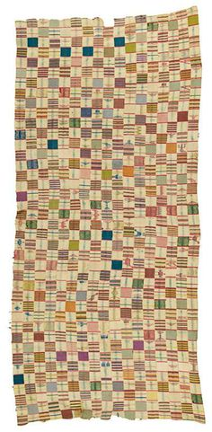 Africa | Ewe cloth from Ghana | ca. 1920 | Cotton;  seventeen strips, with signs, animals, hands, boats etc