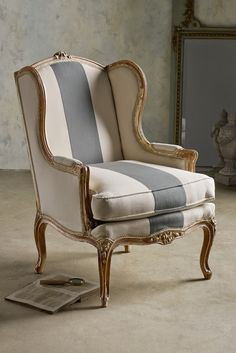 Sophie Wing Back Chair - Hand-carved beech wood frame with an arched seat back and cabriole legs | Soft Surroundings