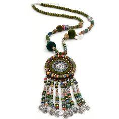Handmade Ethnic Bohemian necklace vintage coin beaded tassel long fringe pendant necklace for women