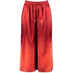Boohoo Behati Satin Drawcord Waist Wide Leg Cropped Trousers | Boohoo ($21) ❤ liked on Polyvore featuring pants, capris, red crop pants, red wide leg trousers, wide leg cropped pants, wide leg trousers and red satin pants