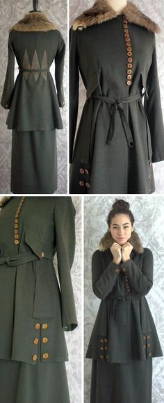 Suit ca. 1910-15. Dark green wool jacket & skirt. Wooden buttons down front & on cuffs. Slit on each side/front of jacket with buttons dotted each side. Permanently attached belt with loops. Two shallow front pockets. Silk lining in blue & white vine design; natural fur collar. Diamond design embroidered on jacket back. Built-in discs on front of jacket to drape well. Unlined, matching skirt with 2 front pockets. Snaps up side & fastens at waist. SassySisterVintage/etsy