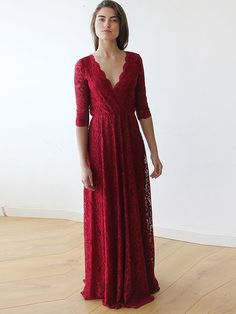 Shop Maxi Dresses - Burgundy Swing Lace 3/4 Sleeve Evening Dress online. Discover unique designers fashion at StyleWe.com.