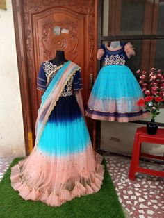 Mom And Daughter Matching, Indian Dresses, Ball Gowns, Tulle, Formal Dresses, Skirts, Floor, Birthday, Fashion