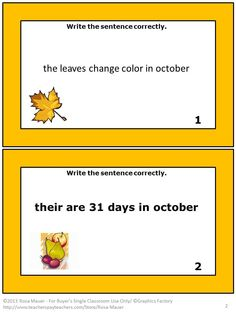 October is the theme of these 30 Grammar Language Arts task cards. On each October grammar task card there is a sentence and corresponding picture. There are no capitalized letters or punctuation marks in the sentences on each of the October grammar writing task cards. There are some spelling errors. Students are to edit and write the sentences correctly. A response form for students and an answer key for teachers are included.