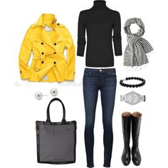 Yellow Trench, created by bluehydrangea on Polyvore