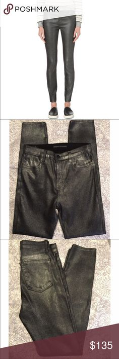 """NWOT J Brand Maria coated metallic skinny jeans NWOT -- J Brand Maria Skinny High-rise Coated jeans in gunmetal shimmer. These are J Brand for Selfridges & Co ... hard to find in the US! Measurements laying flat: waist - 13.5"""", rise - 10"""", inseam - 30"""". 70% lyocell, 28% cotton, 2% elastane (these stretch). Dry Clean. J Brand Jeans Skinny"""